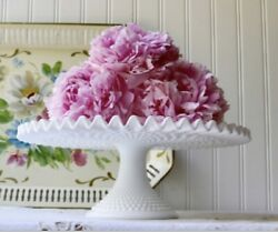 Vintage Fenton Hobmail Milk Pedestal Glass Cake Stand With Crimped Ruffled Edge