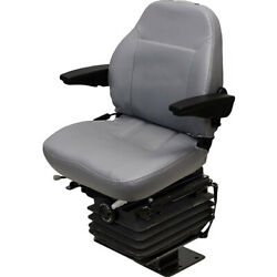 Fold-down Gray Vinyl Seat With Armrests Fits Case Backhoe 580