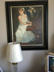 Painting Giclandeacutee W/canvas And Frame Woman Piano White N. Merkoviczandnbsp