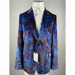 Nwt Paul Smith Men's Tailored-fit Blue And Maroon Floral Velvet Sport Coat Sz44/54