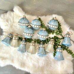 Vintage Christmas By Krebs Ornaments Hand Decorated Glass With Crowns 13 Pieces