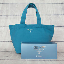 PRADA VIP GIFT NEW L#x27;Homme Blue Parfume Small Tote Bag Toilet Pouch $36.99