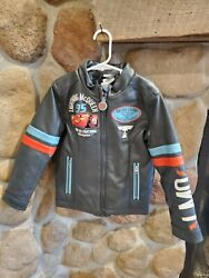Lightning Mcqueen 95 Racing Disney Boys Faux Leather Bomber Jacket Gray 5/6 New
