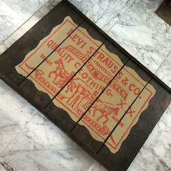 Levi's Vintage Wooden Signboard 91×61cm Size Made In Usa Business Signs Rare