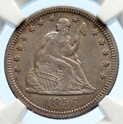 1856 United States Us Silver Seated Liberty Quarter Dollar Coin Eagle Ngc I95615