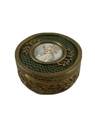 Antique Gilt Metal French Trinket Jewellery Box Handpainted Portrait And Snakeskin