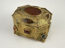 Antique Gilt Metal Agate Set Jewellery Casket Box French Italy European