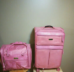 Samantha Brown Classic Pink Croc Embossed Spinner Wheeled Upright Luggage Tote