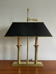 Baldwin Brass Two Arm Candlestick Table Lamp With Box Shade
