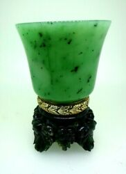 Antique Russian Silver Nephrite And Carved Jade Cup.