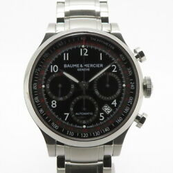 Baume And Mercier Capeland Chrono Mens Ss Black Dial Moa10062 From Japan N0904