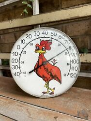 """Vintage Thermometer Jumbo Dial Ohio Thermometer Co Chicken 12"""" 70s Working"""
