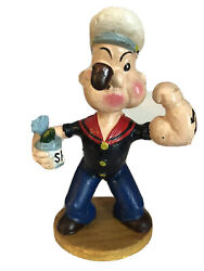 Popeye W Spinach Can And Pipe Cast Iron Bank Figurine 9