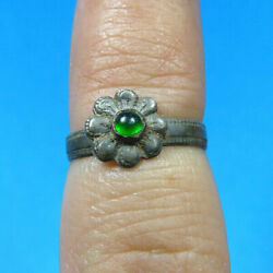 Authentic 1600s 17th Century Ring Silver Flower With Green Stone Found Spanish