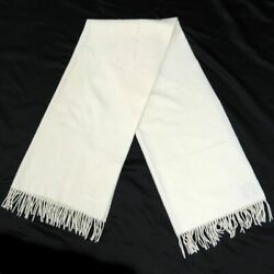 Hermes Cashmere Muffler Large Size Logo White Womenand039s Apparel 9-104