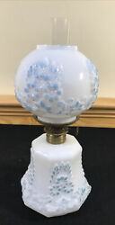Antique Miniature Consolidated Glass Cosmos Oil Lamp Milk Glass Flowers