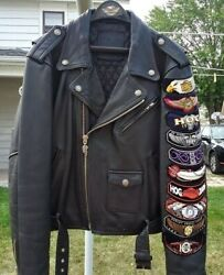Authentic Harley Davidson Leather Jacket Screamin' Eagle Club Patches Large