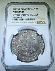 Ngc Guatemala 1789 Ng-m Silver 8 Reales Au Details 1700and039s Spanish Colonial Coin