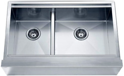 Dawn Daf3321l Undermount Double Bowl With Straight Apron Front Sink, Polished Sa