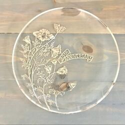 Vintage Silver City Glass Co 25th Anniversary Plate Gift Momento Home Decor