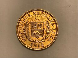 Peru 1916 Gold One Libra Coin. Great Condition. Scarce. 7.98g 22ct