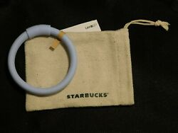 New Starbucks Blue Reusable Silicone Straw Bracelet Great Gift With Pouch