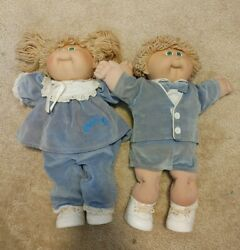 Coleco Cabbage Patch Kids Boy And Girl Twins Green Eyes Signed 1985 Blue Velvet
