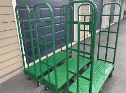"""3 Uline Boat Grocery Cart Heavy Duty 16"""" X 48"""" Local Pickup Only"""