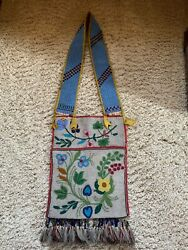 Antique Old Native American Chippewa Bandolier With Blackfoot Strap C 1900