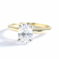 0.90 Ct Si2 F Classic Oval Cut Solitaire Diamond Engagement Ring 18k-yellow Gold