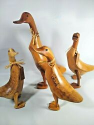 4 Dcuk Brand Wooden Ducks Hand Carved Family Claude Fred Anthony
