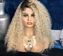 1b 613 Blonde Shadow Roots Curly Hd Lace Front 136 Wig Virgin Human Hair 20 In