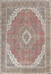 Semi-antique Floral Distressed Oriental Area Rug Hand-knotted Wool Carpet 10x13