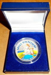 New Millennium 2000 Liberty Coin 1 Troy Ounce Fine Silver Liberia 20 Colorized