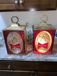 Lot2 70's Budweiser Beer Square Light Scones Wall Hangers Sign 159a