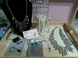Lady's Dresser Top Lot With Winter Theme W Sterling Ring And Brooch.
