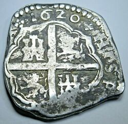 1620 Spanish Silver 4 Reales Antique 1600's Rare Dated Colonial Pirate Cob Coin