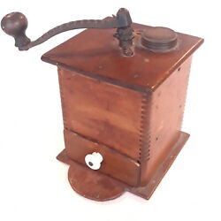 Antique Dovetailed Wooden Coffee Grinder W Copper Drawer, Cast Iron Hardware
