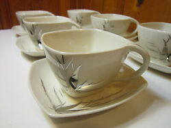 Set Of 6 Crestwood China Company Silver Dawn Coffee/tea Cup Saucer Sets 1950's