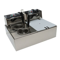 110v Electric Noodle Pasta Cook Machine Countertop Deep Fryer Double Cylinder Us