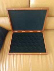 Wooden Coin Storage Box Coin Case Medal Tray Holder Collector Display