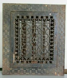 Antique Victorian Cast Iron Floor Grate Register With Louvers 13 X 11 1/2