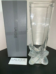 Lalique Crystal Lucca Vase 11quot; Tall in Box Signed France Art Glass