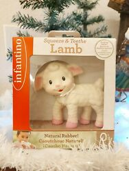 Infantino Lamb Squeeze And Teethe Baby Kids Toy Natural Rubber New