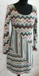Auth Missoni Italy It44/med Stretch A-line Blue/brown Round-neck Striped Dress