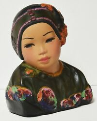 Authentic Antique Esther Hunt Cherry Bloom 1923 Polychrome Chalkware Bust