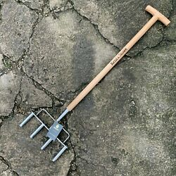 Kent And Stowe Stainless Steel 4 Prong Hollow Tine Aerator - Lawn Grass