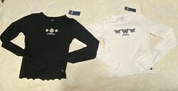Hollister 2 Womens long sleeved crop tops embroidered shirts XS white black NWT