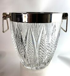 French Crystal And Silver Metal Ice Bucket Vintage