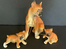 Vintage Erich Stauffer Boxer Dog And Two Pups Ceramic Figurines A271 Japan